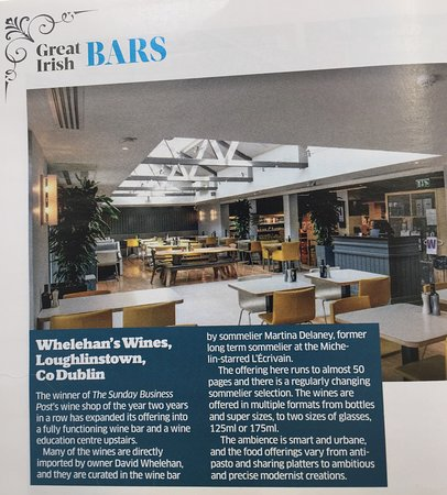 Delighted to feature in the Sunday Business Post top 10 Wine Bars August 2019