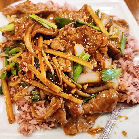 Green onion with Beef over brown rice