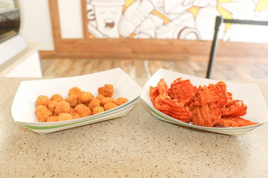 Sticky Thighs: Check out the fried okra and sweet potato fries!