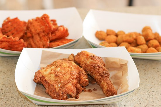 Sticky Thighs: Fried Chicken, Okra and Sweet Potato Waffle fries!