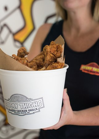 Come get your fried chicken from Sticky Thighs on Atlantic Avenue in Virginia Beach!