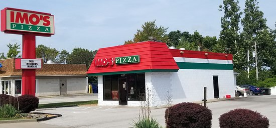 front of, parking and entrance to Imo's Pizza