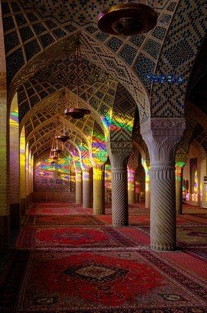 The pink Nasir-ol-molk mosque in Shiraz.