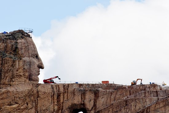 Crazy Horse, SD: In the Black Hills South Dakota, there is the world's largest mountain carving. It's still in progress. I hope it will be finished before I die.