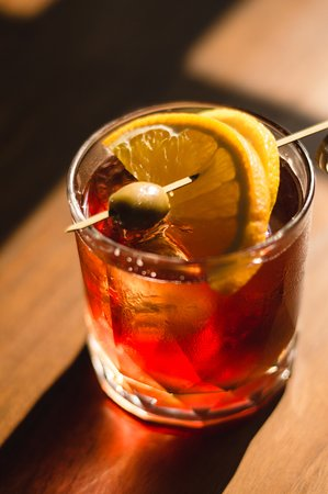 Negroni Cocktail. Our cocktail menu uses entirely Italian liquor.