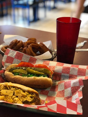 Onion rings. Chicago Dog (back), Frito Bandito (front) YUM all 'round.