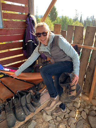 Tagish, Canada: Checking out the racing gear