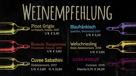 Part of our wine list