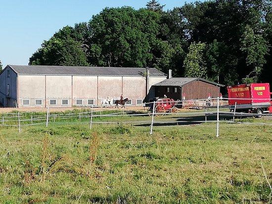 Moerschied, Tyskland: Stallungen nahe der Freilichtbühne Mörschied e.V. und Trainingsgelände für die Pferde etc.