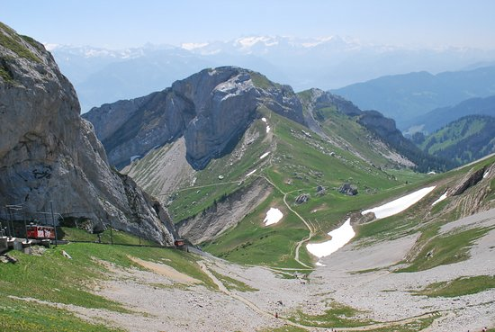 Mount Pilatus Summer Day Trip from Lucerne: mountain view of descending cog