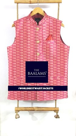 THE BAALAMS: An Elephant's Waist jacket with Golden Jali rust free Copper Buttons | As in this beautiful World, we are no. 1 for making Indian Waist Jackets with Hand Finish. Every button is hand attached, properly finished button hole is also done by hand | Find #worldbestwaistjacket on Instagram.