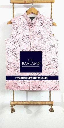 THE BAALAMS: A Pinkish Textured Waist Jacket feels calm and relax. One can put this on Beaches to make your holidays more lightning. As in this beautiful World, we are no. 1 for making Indian Waist Jackets with Hand Finish. Every button is hand attached, properly finished button hole is also done by hand | Find #worldbestwaistjacket on Instagram.