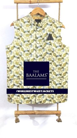 THE BAALAMS: Another calm texture which gives you wedding and casual look at the same time. Groom's friends can wear this with a Smile. As in this beautiful World, we are no. 1 for making Indian Waist Jackets with Hand Finish. Every button is hand attached, properly finished button hole is also done by hand | Find #worldbestwaistjacket on Instagram.