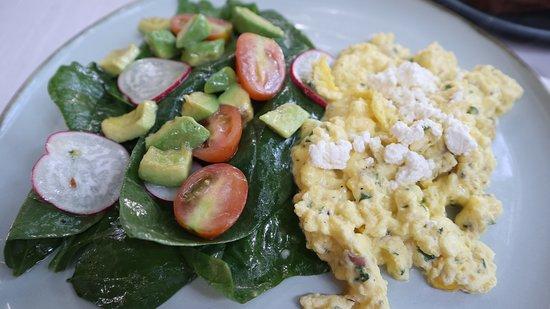 Dusk Blue, Sanur, scrambled organic eggs with salad and feta cheese