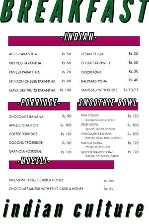 Indian Culture Food Court: Breakfast menu