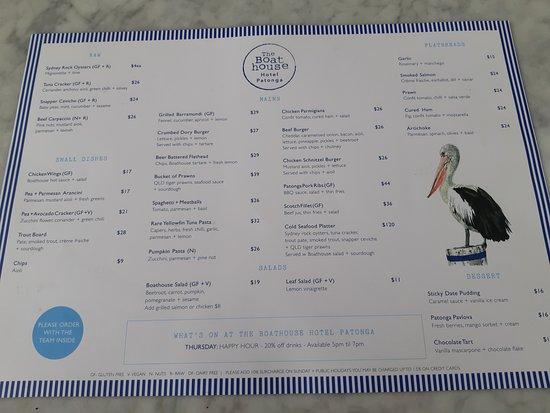 Patonga Beach Hotel Restaurant: The current menu - Winter 2019