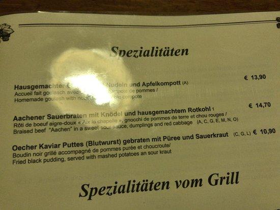 お勧め料理は14ユーロ前後