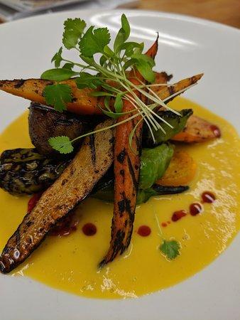 South Royalton, VT: charred carrots over corn brodo