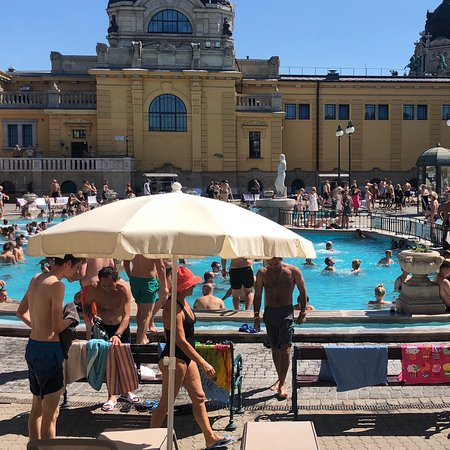 Széchenyi Baths and Pool: Szechenyi bath house August 2019. Crowded and floating bandaids.