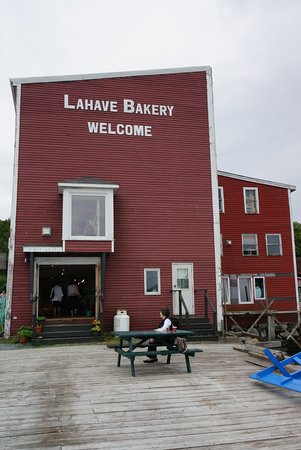 LaHave Bakery:  rear view and picnic table seating