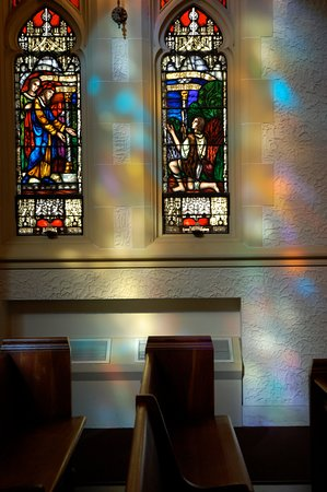 The sunlight through our gorgeous stained glass windows is a treat everyday.