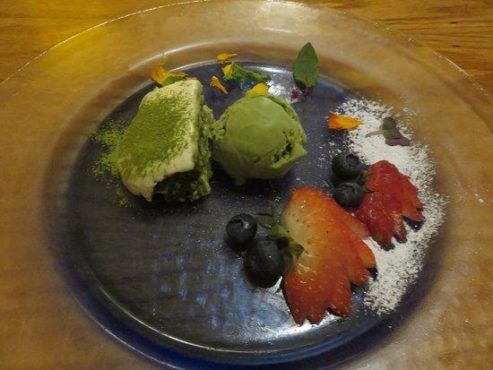 Dessert of Green Tea Ice cream, Green Tea Tiramisu, Mixed Berries