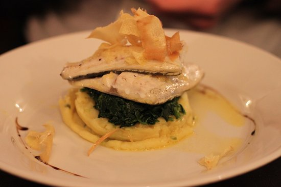 Loved this dish!  Grilled Lime and Ginger Seabass Fillet with Spinach and Spring Onion Mash.