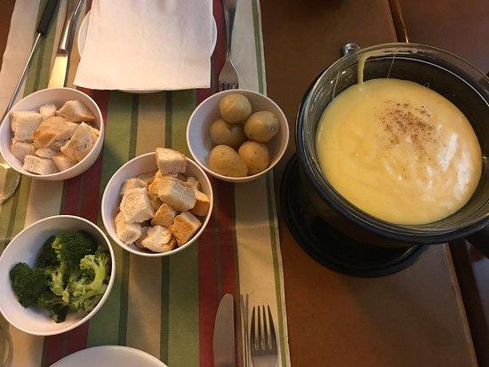 Fondue de queijo + alguns acompanhamentos (não saíram todos na foto)