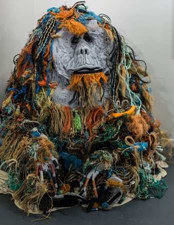 Cristian the recycling orangutan sculpture created by environmental artist Jacha Potgieter using waste collected from a local beach to raise awareness of the plight of the orangutans and as a visual highlight of how much plastic pollution there is on our beaches.