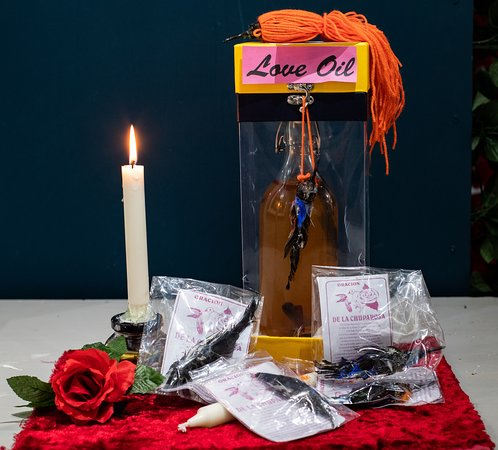 An installation created by environmental artist Jacha Potgieter to highlight the Mexican tradition of using dead hummingbirds in love spells and potions