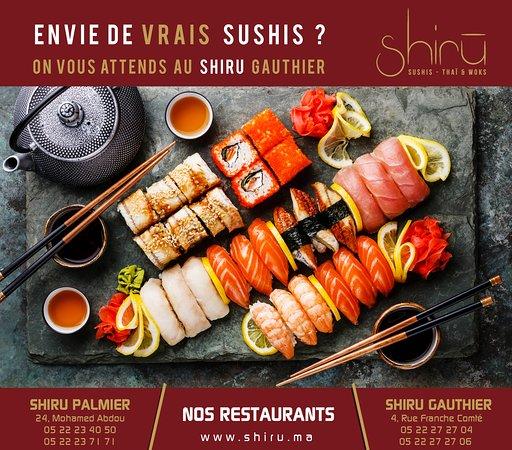 ⭐ Menu sur www.shiru.ma/menu.pdf 💞 ⭐ -------------------------------------- ⭐⭐ 📍 #Shiru_Palmier ❤ 📞 0522 23 40 50 ⭐ ⭐ -------------------------------------- ⭐⭐⭐ 📍 #Shiru_Gauthier❤📞0522 27 27 04 ⭐ ⭐⭐ -------------------------------------- 😍 #iLoVeShiRu 😍 #WeLoVeShiRu #Bestsushi 😍#Livraison #express #partout sur #Casablanca, #Darb et #Ville_verte !