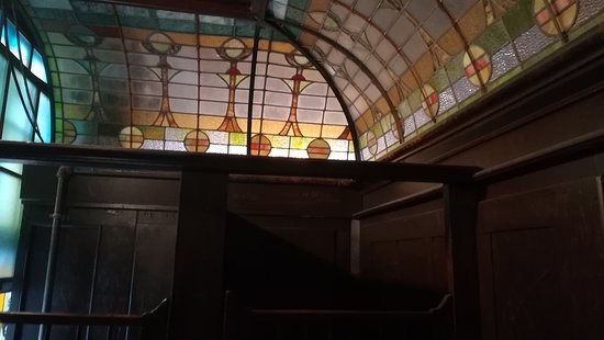 P.J. Clarke's: the inside of the Gents toilet - amazing stained glass roof