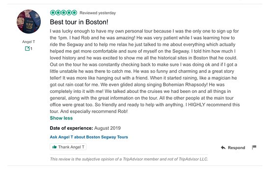 From#facebookto#tripadvisor, to#google, our endless rave reviews speak for themselves! #Boston #Segway #Tours www.bostonsegwaytours.net