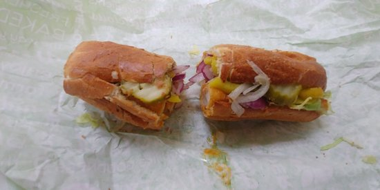 Buffalo Chicken with Banana Peppers, Red Onion, and Pickles. Pretty Good!