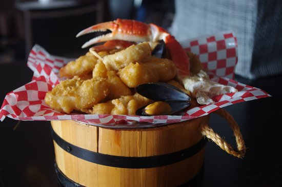 Brown's Restaurant's Puncheon Tub with filled with seafood.
