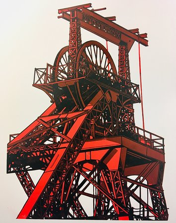 Ieuan Edward's linocut of the Trevor pithead in the Rhondda. Ieuan was an artist in residence in August. We have a selection of his art & cards in stock