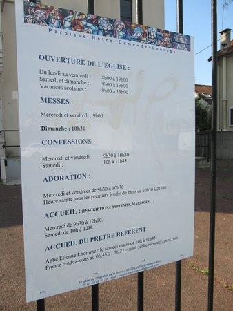 Eglise Notre-Dame de Lourdes: Les horaires