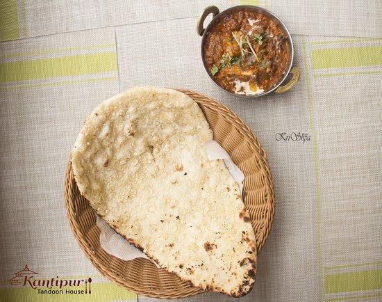 Garlic Naan and Chicken Rara Curry at Kantipur Tandoori House - Thamel, Kathmandu