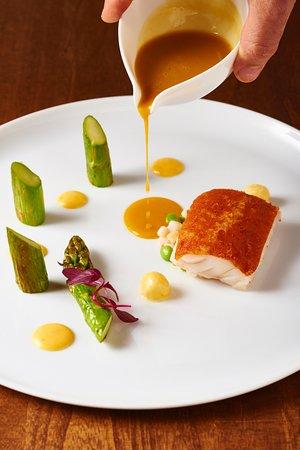 Chez Olivier: Chorizo crust, Ainame fish, green asparagus