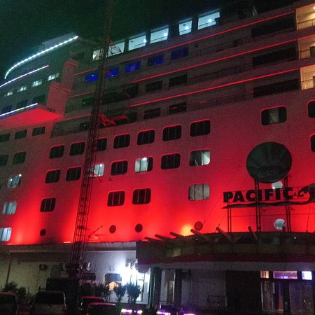 The night scenery view of pacific palace hotel.