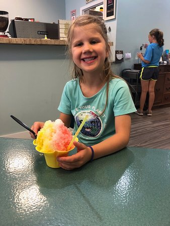 Big dish of shaved ice. Yes, she ate it all....