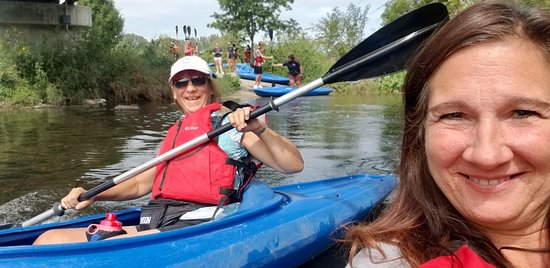 Naperville Kayak: We were pushed into the water and the others that signed up are behind us