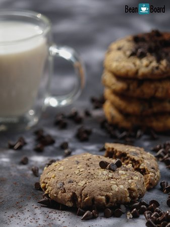 Now offering Oatmeal Chocolate Chip Cookies at Bean Board - a great light bite to go along with your favorite coffee.