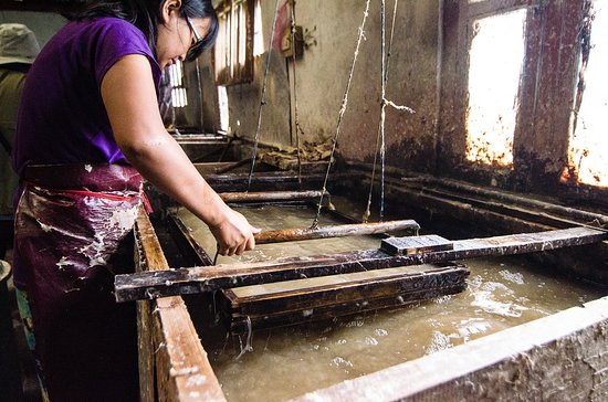 Thimphu District, Bhutan: Traditional way of making wood paper in Bhutan