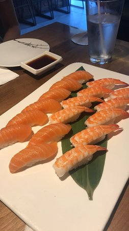 salmon sushi, shrimp sushi