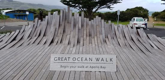 The amazing Great Ocean Walk sculpture in the Park at Apollo Bay.