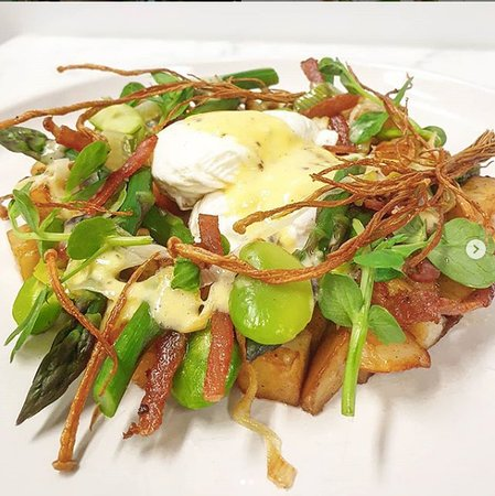 New to Binga & Mooch today. A warm Spring salad, with poached eggs, sauteed potatoes, crispy bacon & a truffle hollandaise