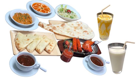 Couple Course - 4200 Contents - 1-choice of two naans  2- Choice of two curries 3-Choice of two soft drinks 4- Tandoori chicken and seekh kebab 5-Salad  6-Two soups 7- Indian Sauce