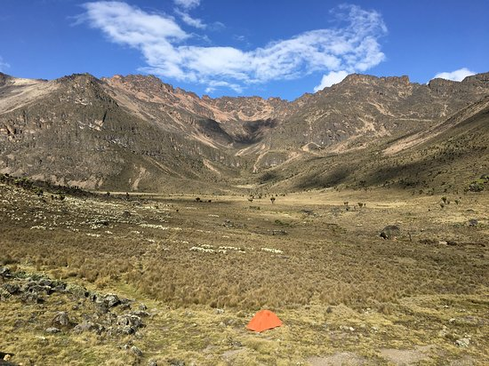 Camping at Teleki Valley near the summit of Mt. Kenya. A grand landscape I have ever seen.