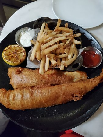 This is the delicious fish & chips plate. This is definitely a shareable plate.